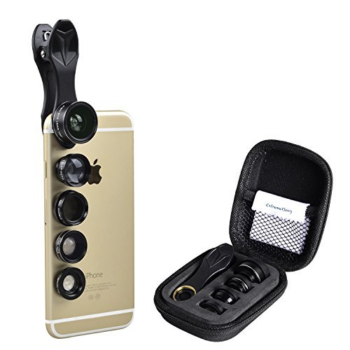 Price comparison product image Cell Phone Camera Lens Kit Apexel 5 in 1: Wide Angle+ Macro+Fisheye+Telephoto+CPL for iPhone Camera Lens, Samsung Camera Lens, and most Smartphone Camera Lens.