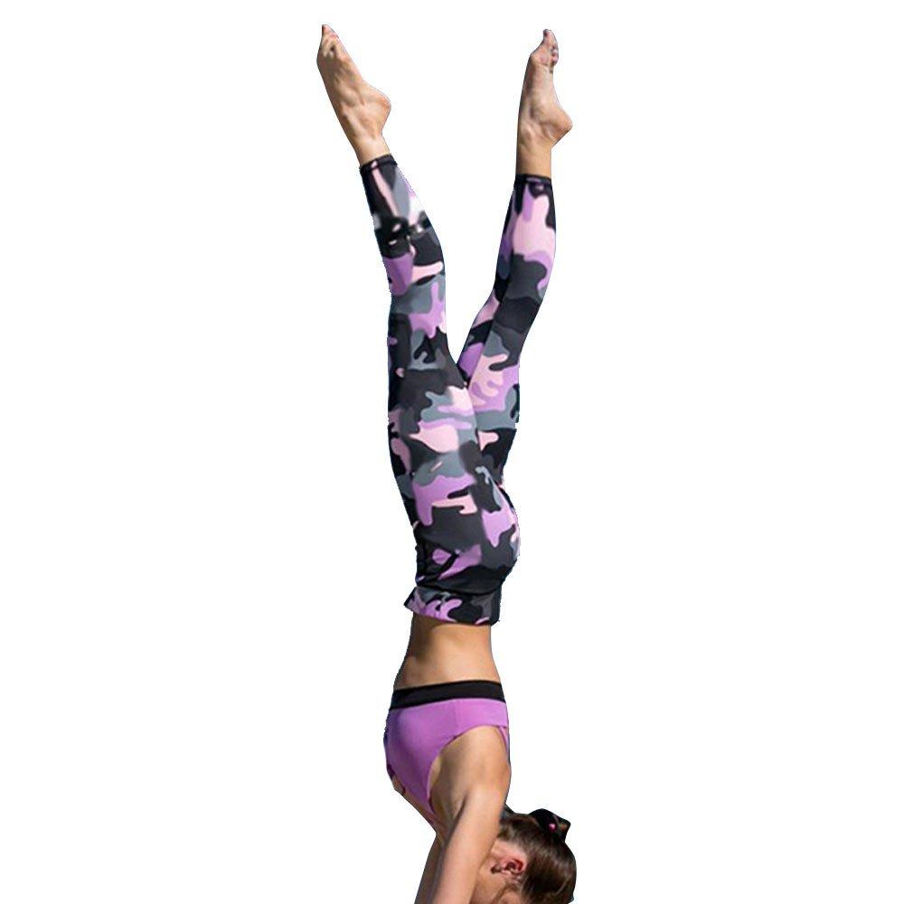 Yoga Pants, OOEOO Ladies Camouflage Running Fitness Exercise Capris Athletic Leggings OLD325