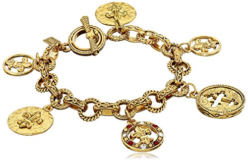 Crystal Cross Toggle Bracelet - Symbols of Faith 14k Gold-Dipped Toggle Crosses and Fleur di Lis Medallion Link Charm Bracelet, 7