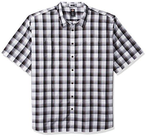 Dickies Men's Yarn Dyed Plaid Short Sleeve Shirt Big-Tall, Black/White Large, - White And Black Dickies