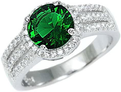 Sterling Silver Halo Simulated Emerald Gemstone Ring Sizes 5-10