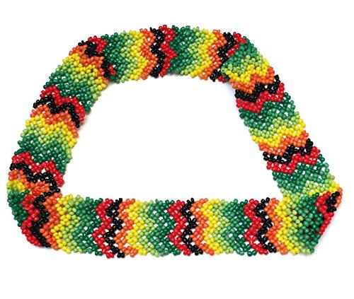 Seed Bead Triangle - WigsPedia Native American Pattern Handmade Elastic Stretch Seed Beaded Headband Hair Accessories (Black/Red/Green/Yellow Chevrons)