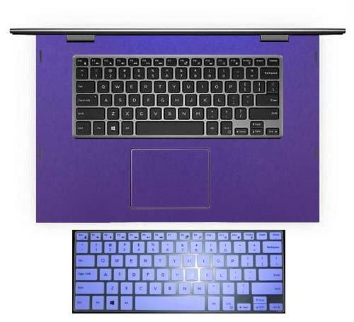 2in1 Wrist Palmrest Decal Skin Cover + US Layout Keyboard Protector skin for 15.6'' Dell Inspiron 15-5568 15-5578 i5568 i5578 (shimmery purple palmrest sticker+semi-purple keyboard skin)