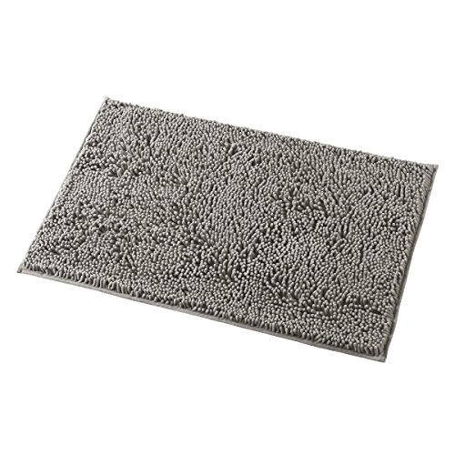 MAYSHINE Chenille Bathroom Rugs Extra Soft and Absorbent Shaggy Bath Mats Machine Wash/Dry, Perfect Plush Carpet Mat for Kitchen Tub, Shower, and Doormats (20×32 inches, Light Gray)