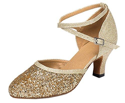 Tda Da Donna Tacco Medio Sintetico Glitter Cinturino Alla Caviglia Comfort Salsa Tango Da Ballo Latino Scarpe Da Ballo Moderno Oro