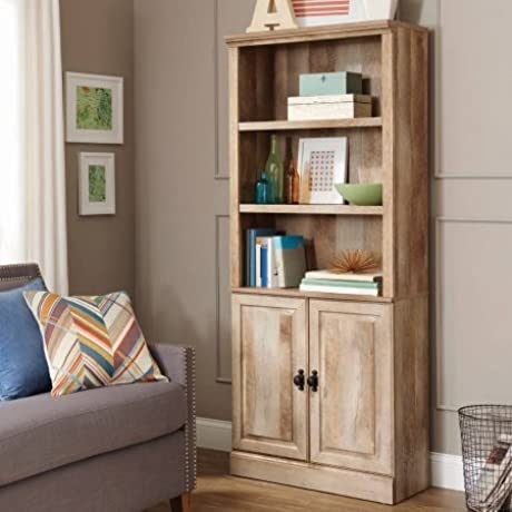 Bookcase With Doors Multiple Finishes Bookshelf With Three Adjustable Shelves And Two Doors Closed Storage Space Made Of Wood Home And Office Furniture Study Room BONUS E Book Weathered