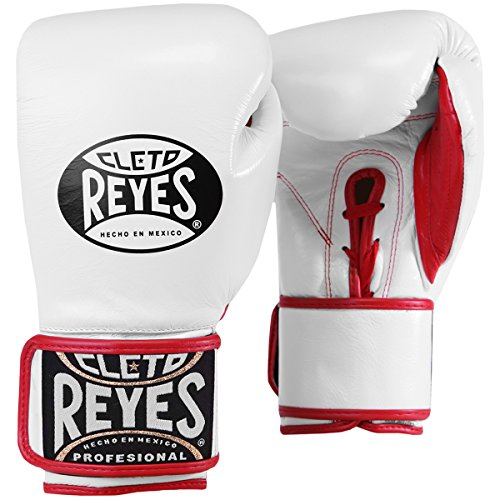 Cleto Reyes Lace Up Hook and Loop Hybrid Boxing Gloves - Small - White