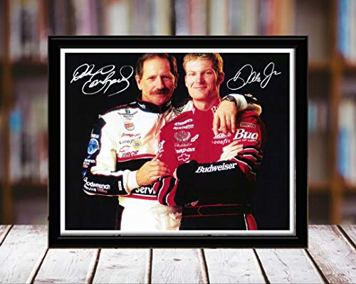 Earnhardt Prints Dale - Dale Earnhardt Jr and Sr Autograph Replica Print - 8x10 Desktop Framed Print - Landscape