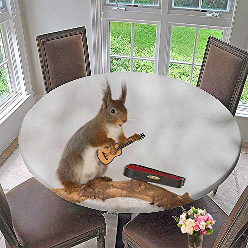 Round Polyester Tablecloth Table Cover red Squirrel in Snow with Guitar for Most Home Decor 67