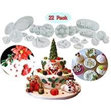 (Set of 22)Plastic Cookie Plunger Cutters Set, Fondant Cutters and Molds for Cupcake Cake Topper Decorating Tools Holiday Baking,snowflake/ Christmas Tree/holly Leaf/sled/Snowman/Jingling Bell/deer