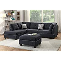Benzara BM168761 Polyfiber Sectional Sofa with Ottoman and Pillows, Black