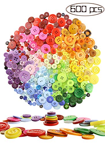 Amersumer 600 Pcs Assorted Sizes Resin Buttons ,Round Craft Buttons for Sewing DIY Crafts,Children