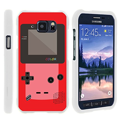 MINITURTLE Case Compatible w/ [Samsung Galaxy S6 Active Slim case, S6 Active case ][Snap Shell] Hard Plastic Slim White Snap on case w/ Unique Designs Red Gameboy ()