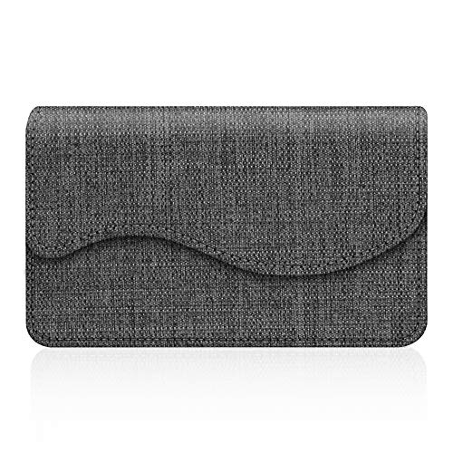 (Business Card Holder/Credit Card Wallet, Fintie Premium Fabric Handmade Universal Card Case Organizer with Magnetic Closure, Denim Charcoal )
