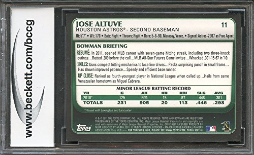 BGS BCCG 9 Graded Card CENTERED 2011 bowman draft gold #11 JOSE ALTUVE astros rookie card