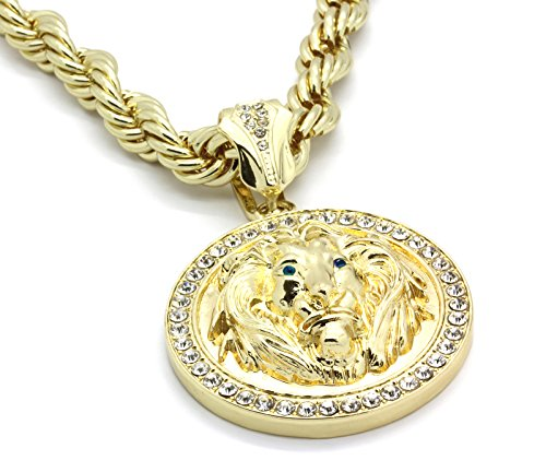 14K Gold Plated Hip Hop High Fashion Round Lion Face w/ Blue Eyes Pendant & 10mm 30