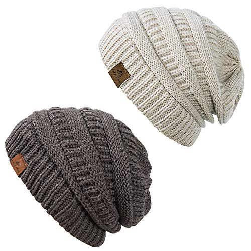 (PAGE ONE Womens Winter Cable Knit Hat Soft Stretch Cable Knit Warm Fleece Lined Skully Beanie(Oatmeal+Dark Grey))