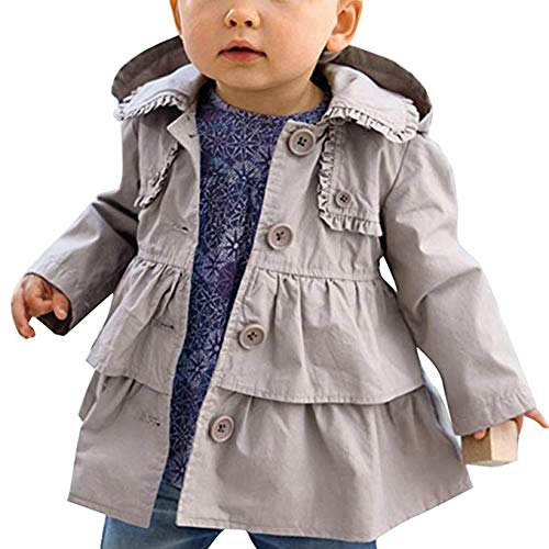 Agoky Baby Girls Spring Fall Winter Trench Hooded Jacket Coat Outerwear Gray 3T