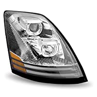 Volvo VNL Chrome Halogen Headlight Assembly with LED (Passenger Side)