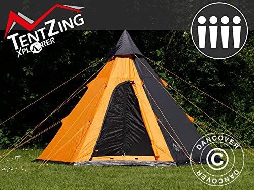 Dancover Tienda de campaña Teepee, TentZing®, 4 Personas, Naranja/Gris Oscuro: Amazon.es: Jardín
