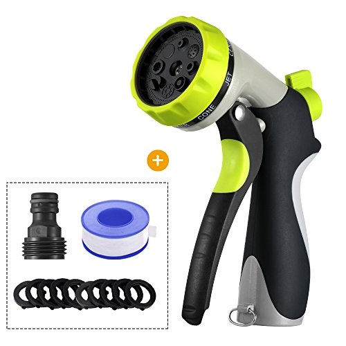 Garden Hose Nozzle Spray Nozzle Heavy Duty Metal Water hose nozzle, 8 Adjustable Watering Patterns Hose nozzle for Garden Watering, Pet bathing, Car washing, Floor washing [2018 Upgrade Version]