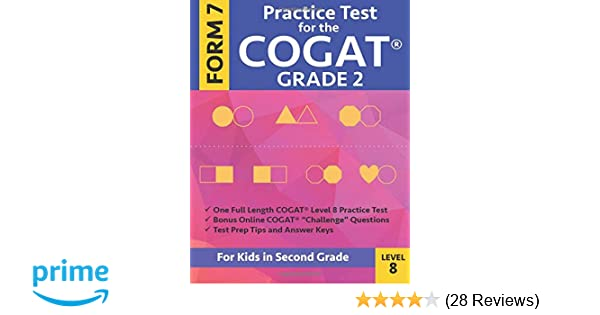 Amazon com: Practice Test for the CogAT Grade 2 Form 7 Level 8