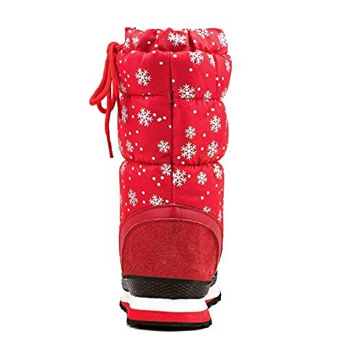 da Shenji Mezza Stivali Neve Invernali Rosso Scarpe Donna A Gamba H20612 Antisdrucciolo wx4InqH
