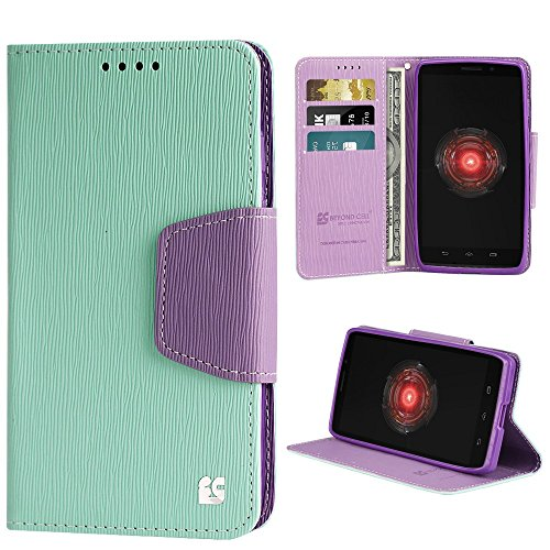 Beyond Cell PU Leather Folio Flip Cover Wallet Phone Case With Stand for Motorola Droid Maxx 1080M - Mint/Purple - Cell Phone Case For Motorola Maxx