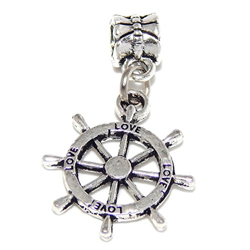 GemStorm Silver Plated Dangling Ships Wheel For European Snake Chain Bracelets ()