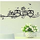 Zarupeng Cartoon-Eulen-Schmetterlings-Wand-Aufkleber-Dekor-Abziehbild