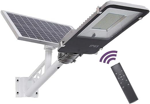 SUPERU Farola Solar LED para Exteriores, Atardecer hasta el Amanecer IP65 Impermeable Temporización Farola Solar Atenuación de 5 Niveles con Poste, Control Remoto (50Watt): Amazon.es: Jardín