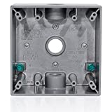 Leviton 2GM53-GY 2-Gang Weatherproof Box with Three 1/2'' Diameter Outlets