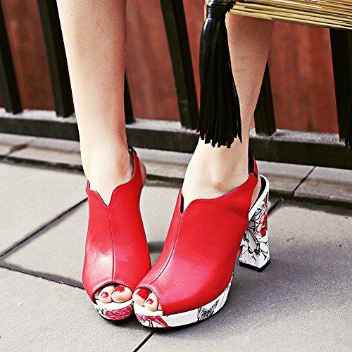 YE Damen Slingback Peep Toe Pumps Blockabsatz High Heels Plateau mit Schnalle und Blumenmuster Elegant Schuhe Rot