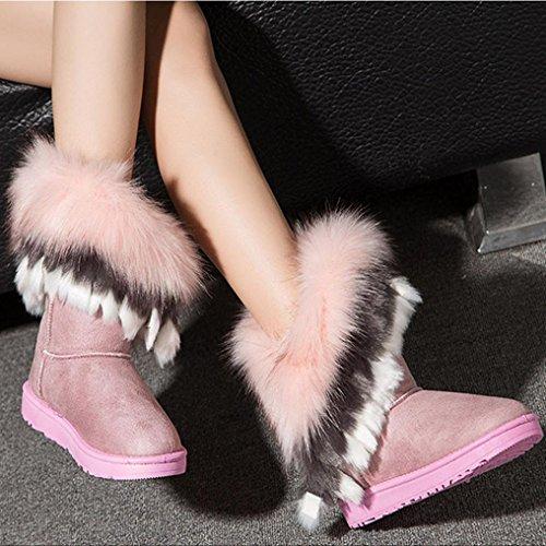 Botas Mujer de zapatos rosa de Ouneed piel Caliente nieve Botas Mujer ® Moda nieve de Botas 4BI8c