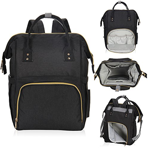 Hynes Eagle Water Resistant Diaper Backpack Multipurpose Baby Travel Bag for Dad or Mom Black U by Hynes Eagle