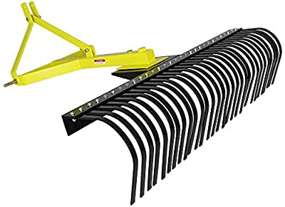 Titan Attachments Landscape Rock Rake 3 Point Soil Gravel Lawn Tow Behind Compact Tractor 5ft York