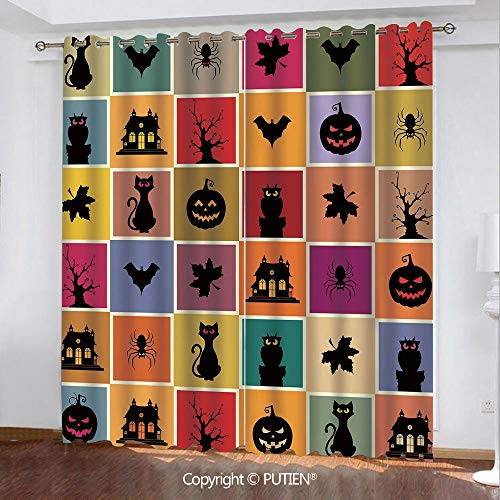 (Satin Grommet Window Curtains Drapes [ Vintage Halloween,Bats Cats Owls Haunted Houses in Squraes Halloween Themed Darwing Art Decorative,Multicolor ] Window Curtain for Living Room Bedroom Dorm)