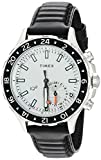 Timex Men's TW2R39500 IQ+ Move Multi-Time Black/White Leather Strap Watch