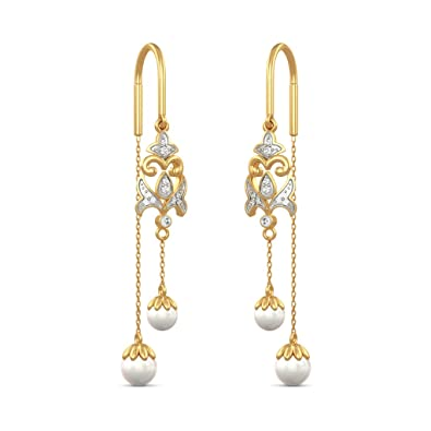 a749b2594 Buy BlueStone 18k (750) Yellow Gold and Diamond Drop Earrings Online at Low Prices  in India | Amazon Jewellery Store - Amazon.in