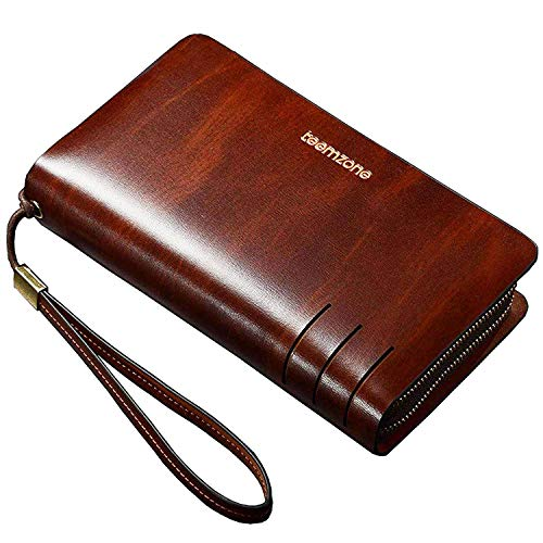Teemzone Mens Genuine Leather large Clutch Bag Wirstlet Handbag Organizer Checkbook Wallet Card Case Wrist Bag (RFID Blocking & Zipper Pocket) (Large Wrist Bag)