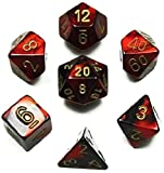 Custom & Unique {Standard Medium} 7 Ct Pack Set of [D4, D6, D8, D10, D12, D20] Assorted Polyhedral Shapes Playing & Game Dice w/ Simple Classy Pearl Design [Red, Black & Gold] w/ Dice Box