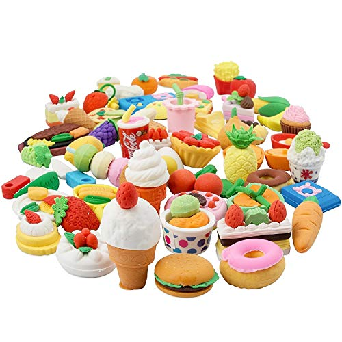 25PCS Pencil Erasers Assorted Food Cake Dessert Puzzle Toys Earsers For Kids(25 different Style randomly selected from as shown in the picture)-By LW Funny -