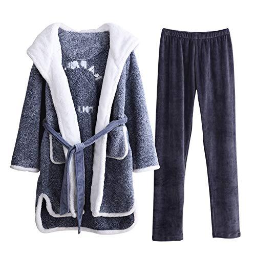 Conjunto De Mujer Gray Para Mmllse Túnica E Otoño Capucha Albornoz Caliente Invierno Pijamas Con Hogar Terciopelo ZgZIw5qx7