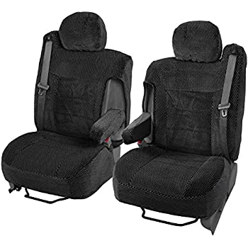 Scottsdale Cloth Front Seat Covers For Trucks SUV Integrated Armrest TS Black