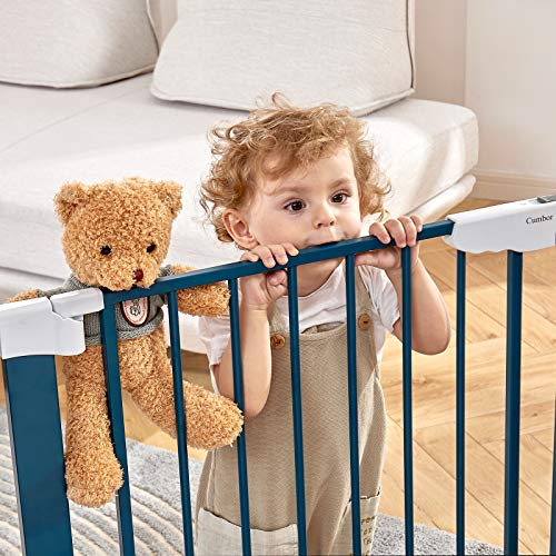 """51spsOyiWCL Cumbor 46""""Baby Gate for Stairs and Doorways, Extra Tall and Wide Auto Close Safety Child Gate, Easy Walk Thru Durable Dog Gate for The House. Includes (2)2.75-Inch and 8.25-Inch Extension(Blue)    Product Description"""