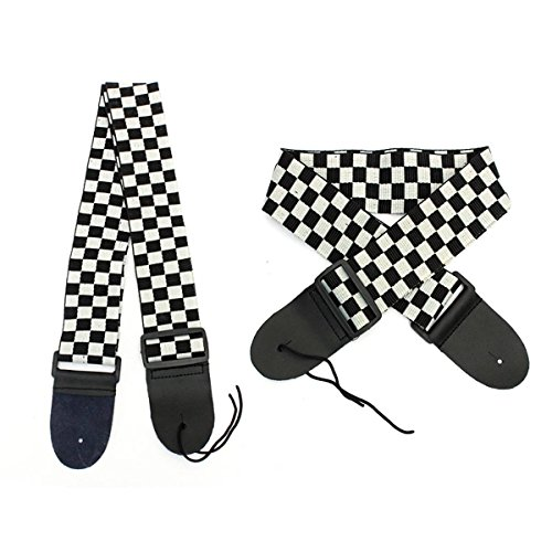 KING DO WAY Schwarzweiß Checkered Gitarrengurt  Gitarrenband Gitarre Gurt für E-Bass Akustik PU Leder