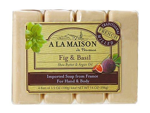 Fig Bars Recipe - A La Maison Soap Bars, Fig & Basil, Value Pack 3.5 oz, 4 Count
