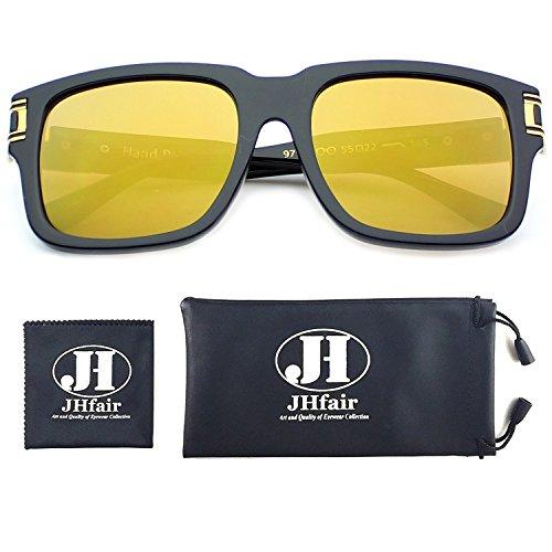 JHfair Designer Square Aviator Classic Fashion Sunglasses for Men Women Flat - Big Heads Sunglasses Style Wayfarer For