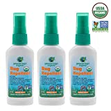 Greenerways Organic Mosquito Insect Repellent Travel Size, Premium, USDA Organic, DEET-FREE, Natural, Mosquito-Repellant, Bug Spray, Clothing Safe, Baby Safe, Kid Safe, Pet Safe, 3-PACK DEAL - (3) 2oz