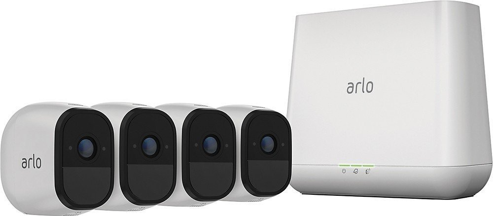 Arlo Pro VMS4430 Indoor/Outdoor HD Wire Free Security System with 4 Cameras (White)